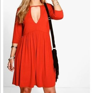 Boohoo Plus Red/Orange Dress with Cutout